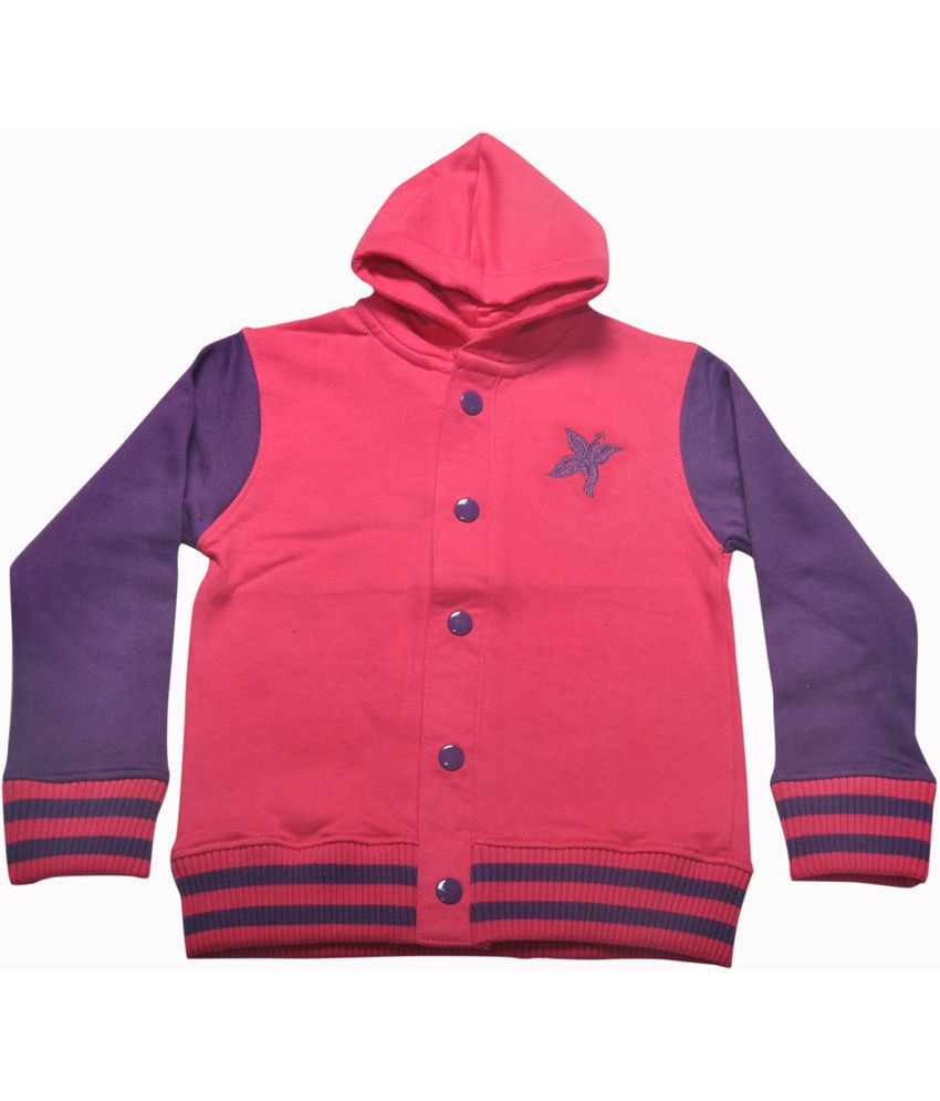 Bg Casual Pink Cotton Flower Embroidery Girl's Full Sleeve Hoody Jacket