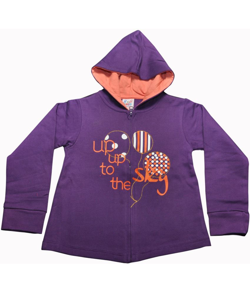 Bg Casual Purple Cotton Baloons Printed Girl's Full Sleeve Hoody Sweatshirt