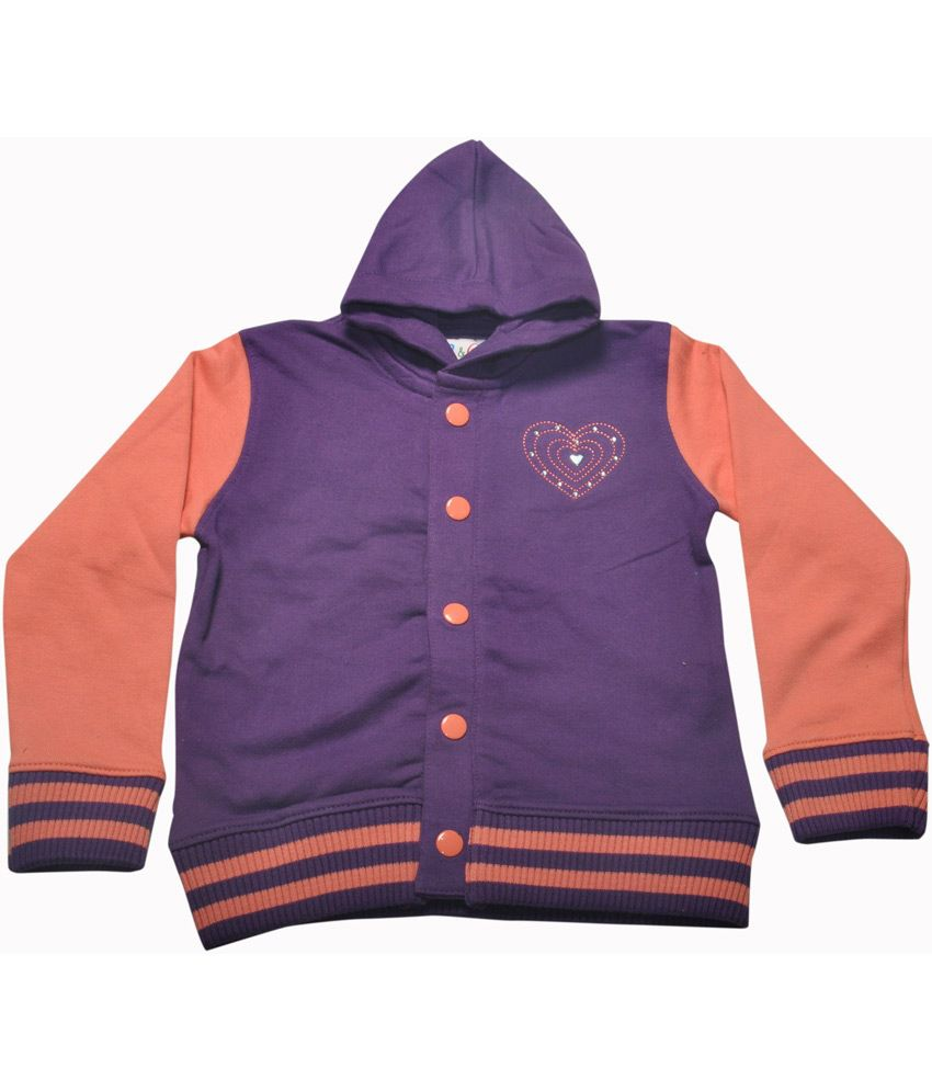 Bg Casual Purple Cotton Heartins Embroidery & Sequence Girl's Full Sleeve Hoody Jacket