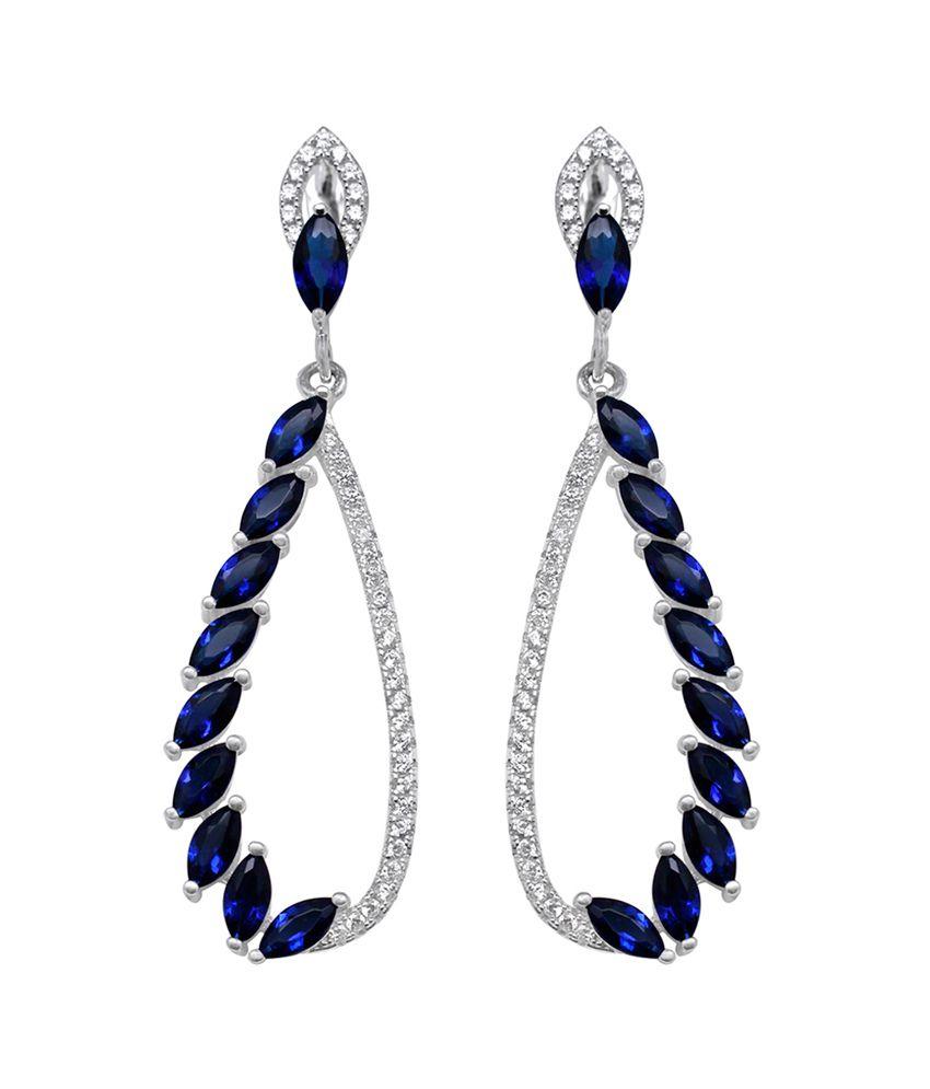 Gemtogems Silver And Created Gemstones Drop Earrings