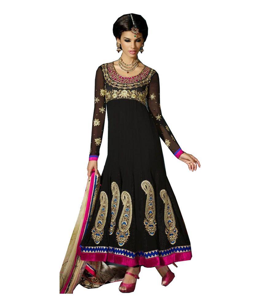 Great Trendz Black Pure Georgette Regular Fit Salwar Suit