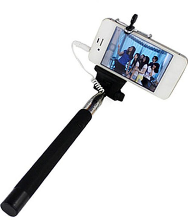 M-zone Extendable Selfie Stick With Aux Cable Hand Held Monopod - Black 98cm