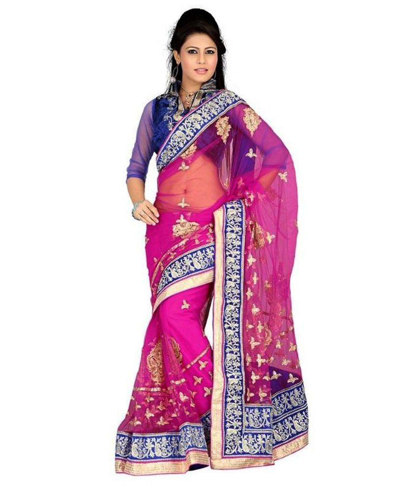 6cc67d8315f41a Little India Pink and Purple Georgette Saree - Buy Little India Pink and  Purple Georgette Saree Online at Low Price - Snapdeal.com