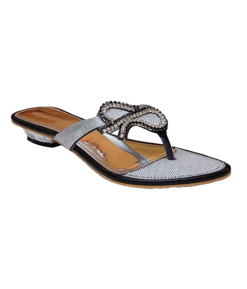 Stefino Black Low Heel Sandal For Women
