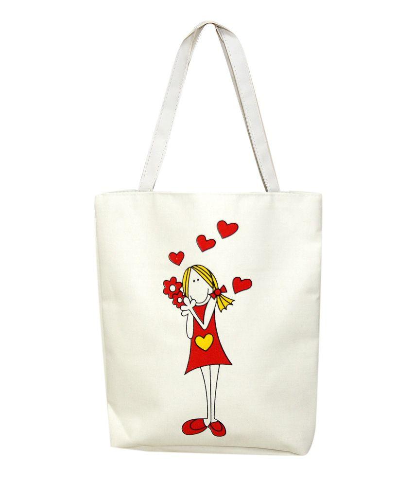 Watercolour Cute Flower Girl Tote Bag - Buy Watercolour Cute Flower Girl Tote Bag Online At Best ...