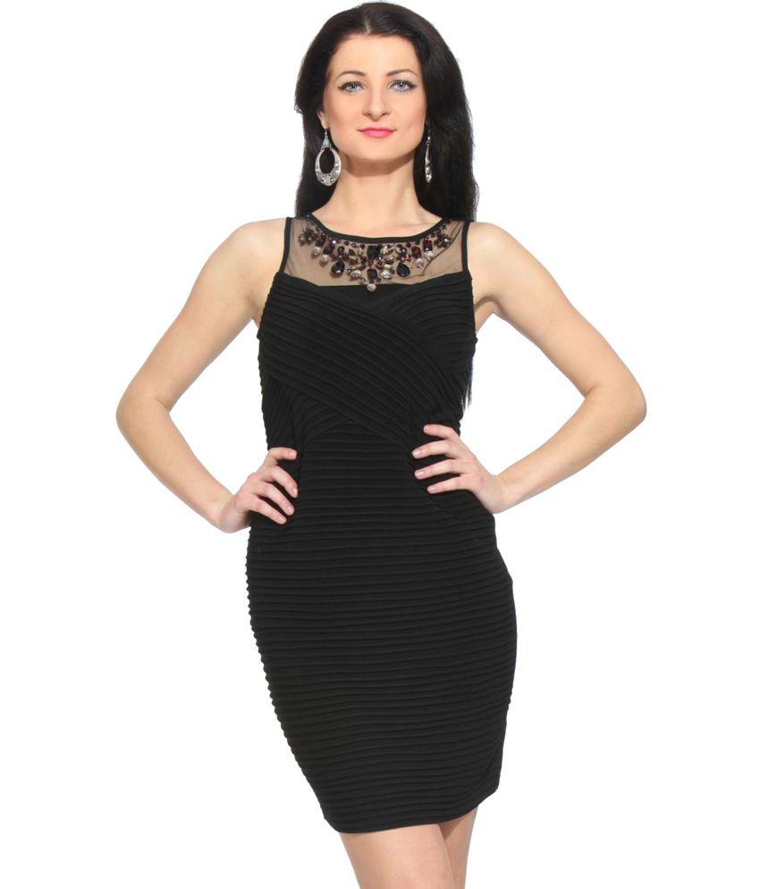 Fuegobella Black Polyester Dresses