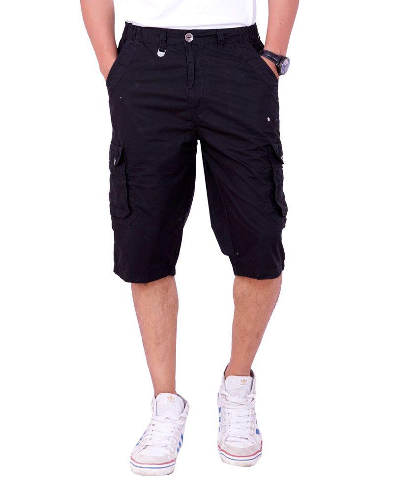 Origin Smart Black Casual Fix Waist Patterned Cotton Shorts For Men  -  Or6272Blk
