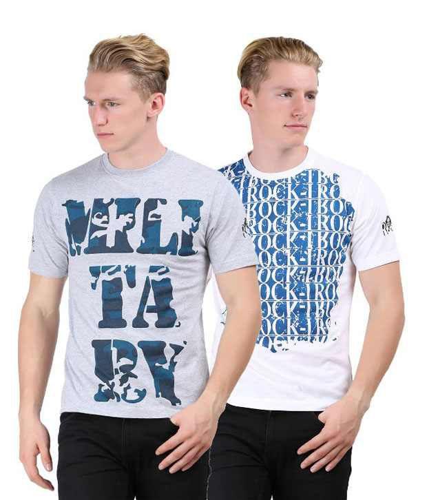 Rock I Mens Fashion Printed T Shirt Pack Of 2 Combo 27