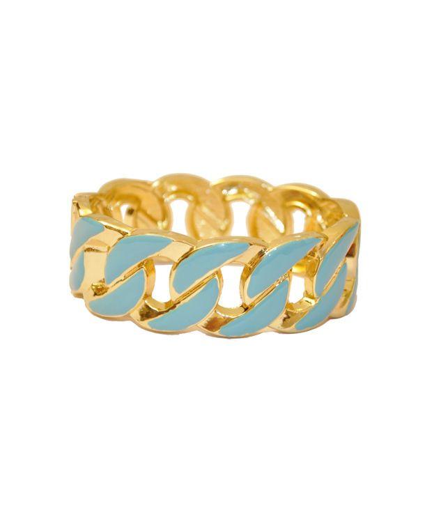 Women Trendz Sky Blue Golden Polish Openable Kada