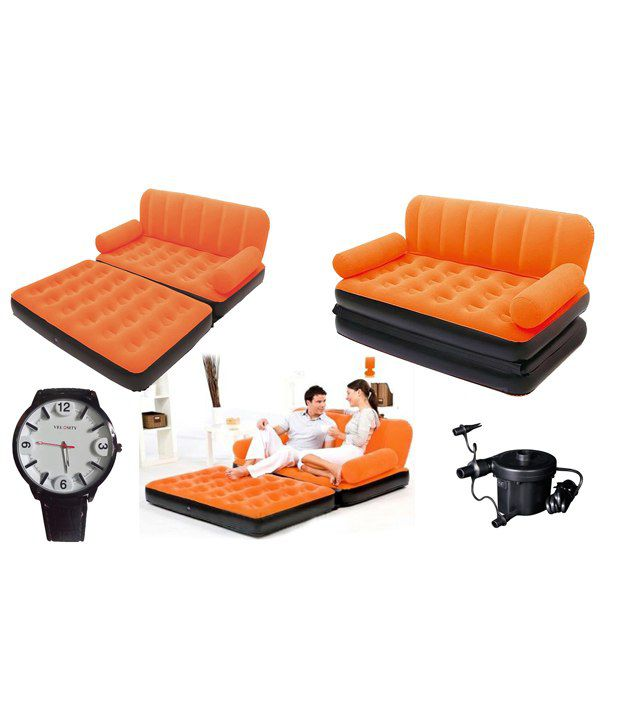 Eo Double Velvet Sofa Cum Bed Air Lounge Inflatable Orange