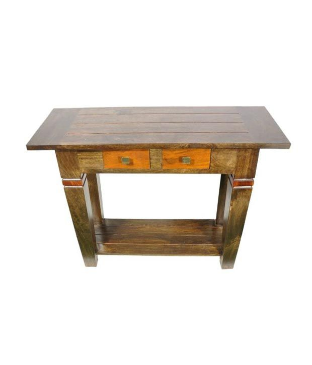 Ethnic Handicrafts Console Table In Olive Green With Teak Finish
