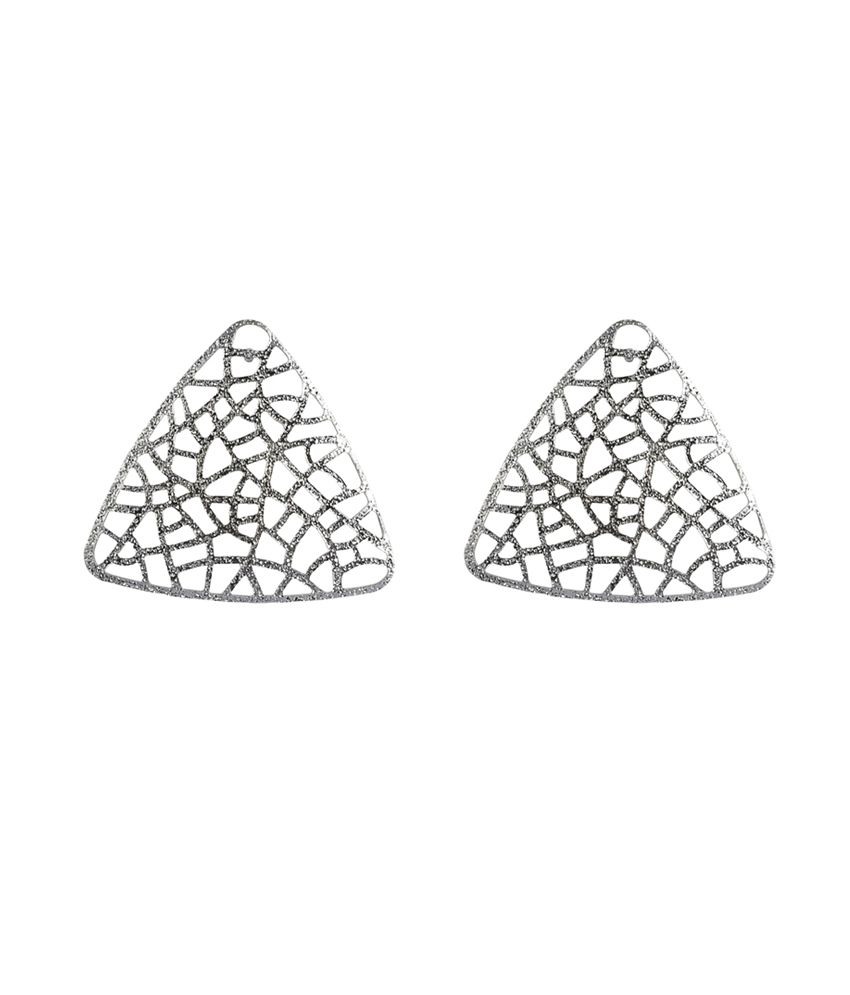 Gildermen Matt Silver Filigree Studs For Women