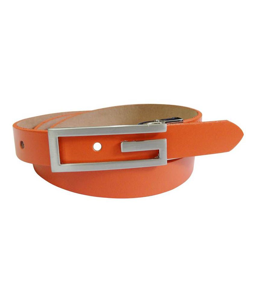 Midas Ladies Leather Belt - Orange
