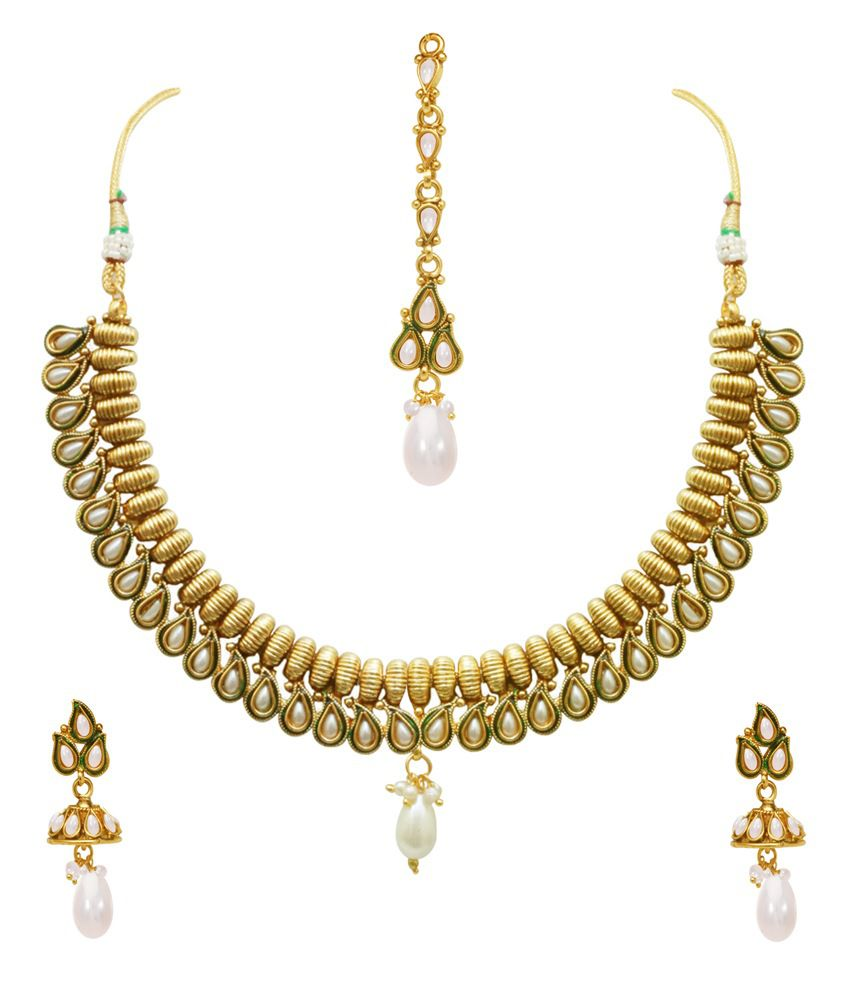 Sv Jewels Gold Colour Spark Contemporary Alloy Necklace Set With Maang Tika
