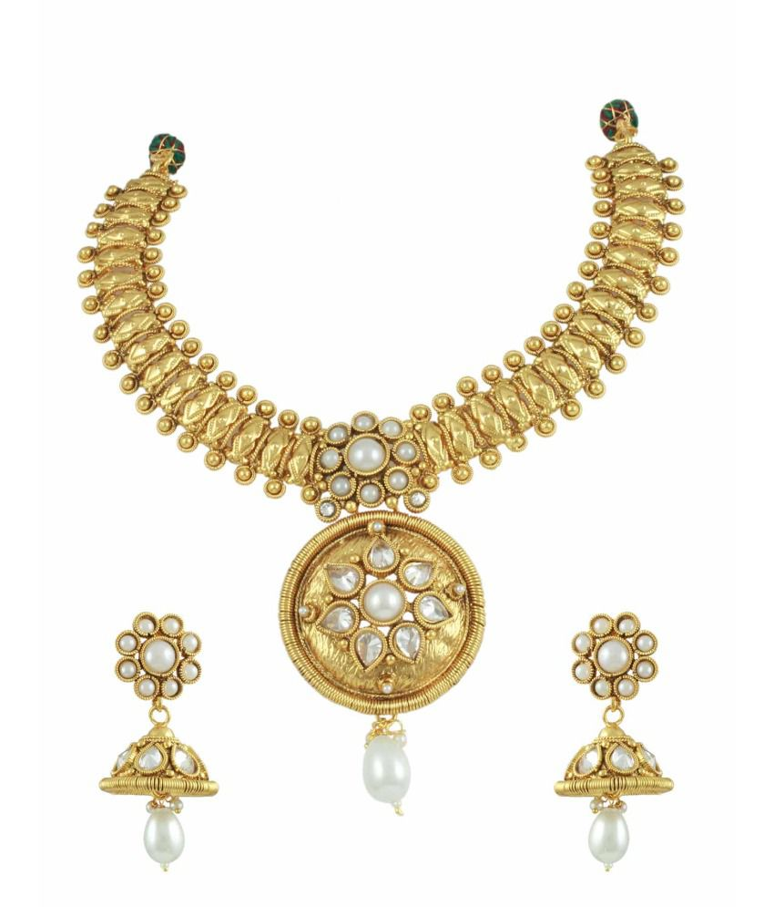 Orniza Ethnic Golden Pearl Necklace Set