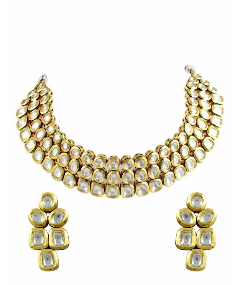 Orniza Elegant Uncut Vilandi Kundan Jewellery Necklace Set