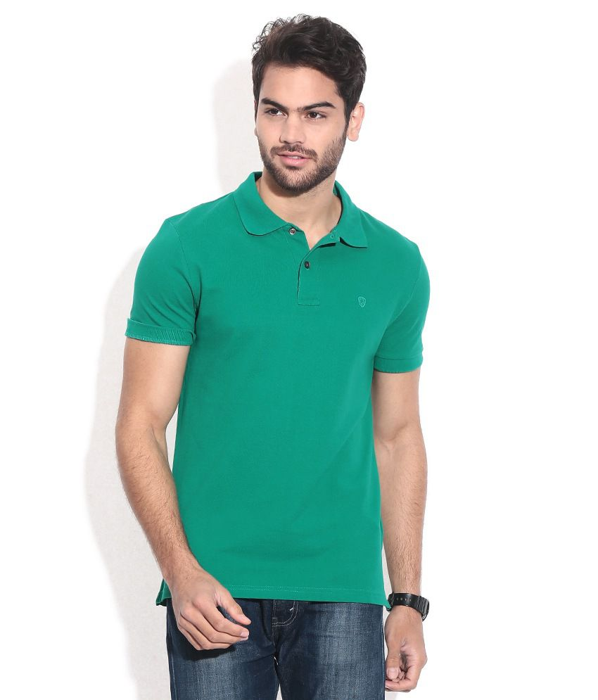Celio Green Cotton Polo Neck T-shirt