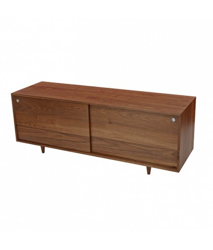 Silver Pine Brown Plywood Sideboard With Sliding Doors
