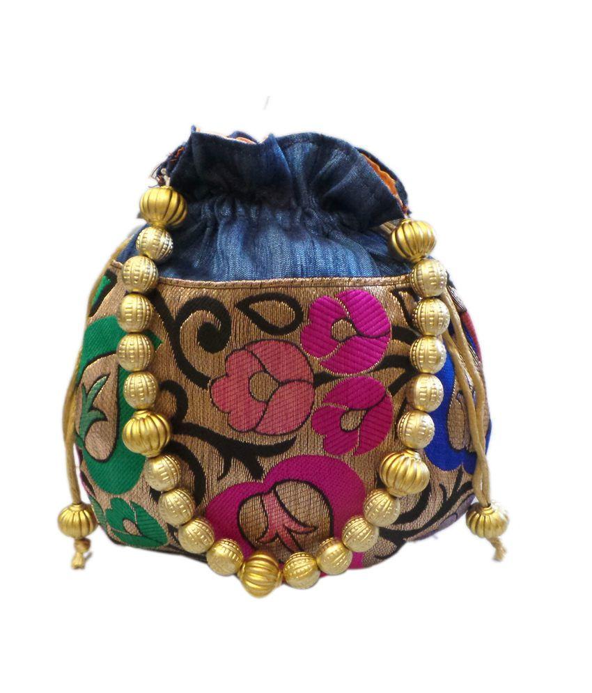 Bhamini Leaf Design Small Raw Silk Potli - Blue