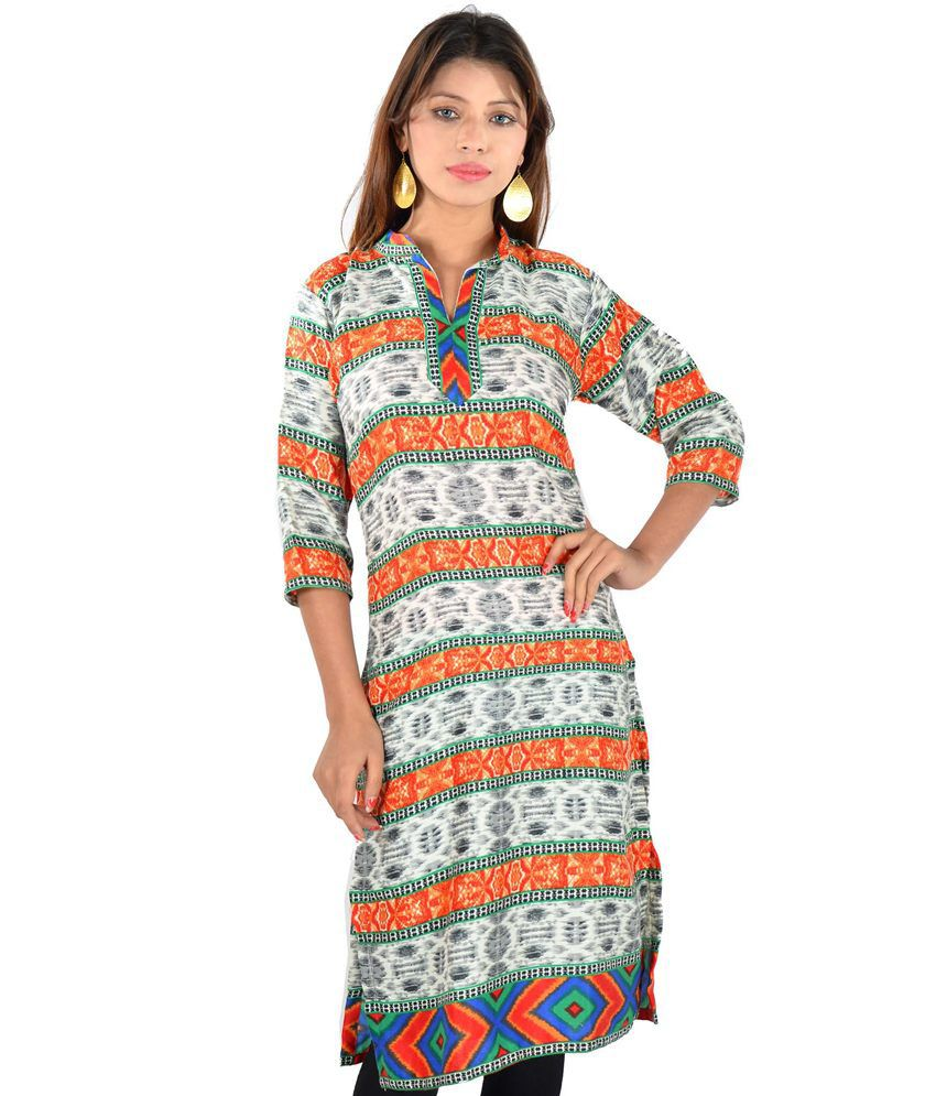 D2nine Multi Color Printed Pashmina Silk Long Kurti