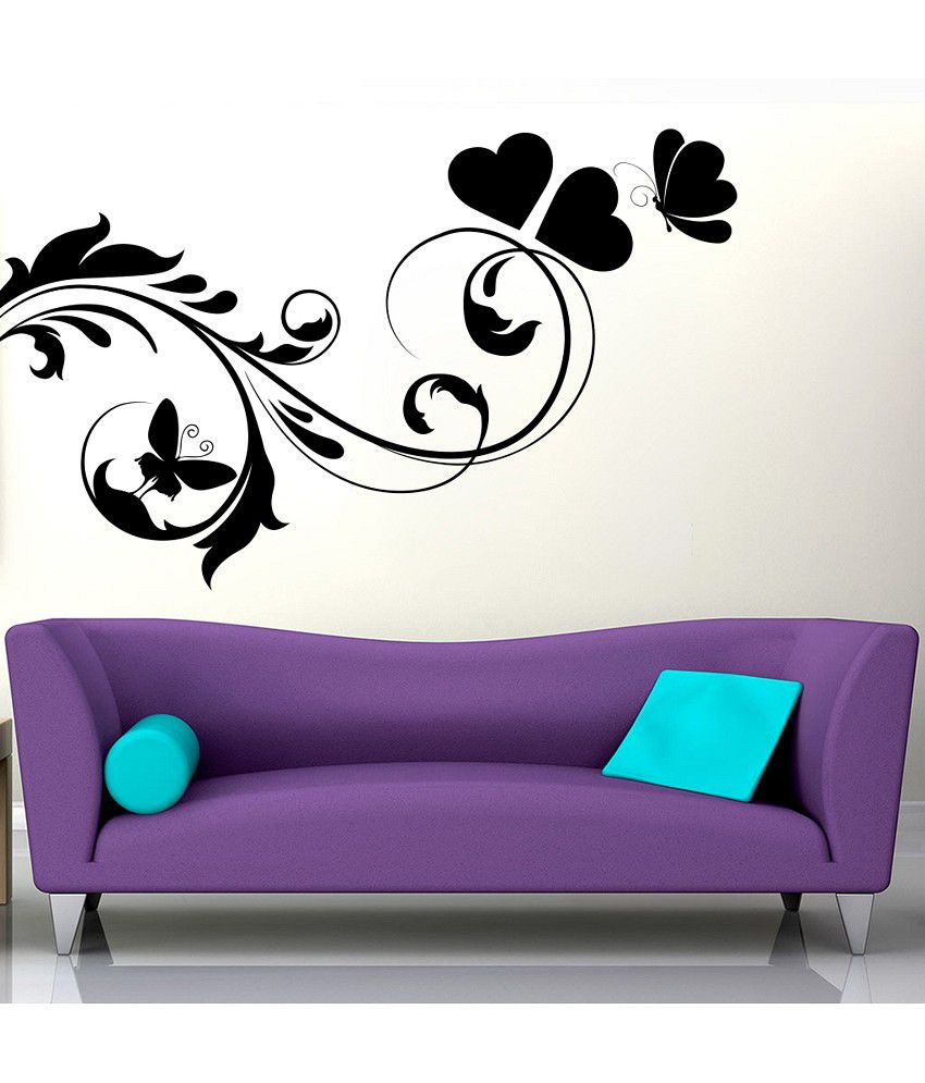 Decor Kafe Butterfly Floral Design Wall Decal Buy Decor Kafe