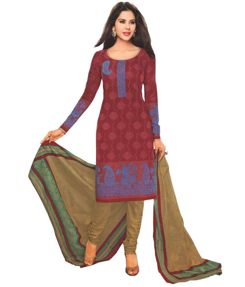 Javuli Maroon Cotton Unstitched Dress Material
