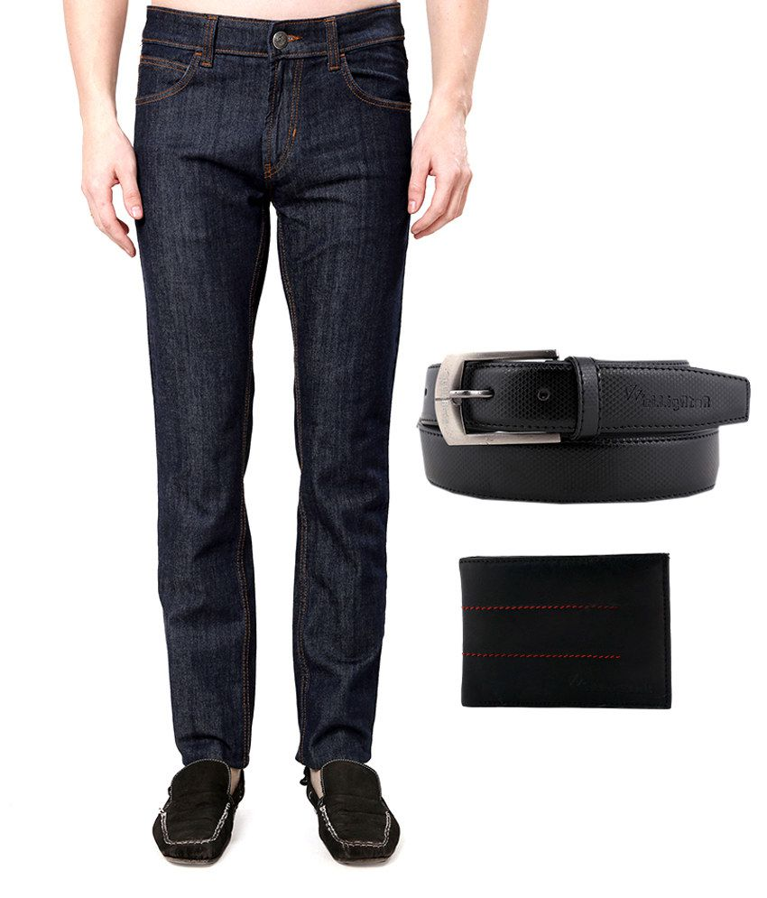Flying Machine Blue Cotton Faded Jeans With Elligator Wallet And Belt