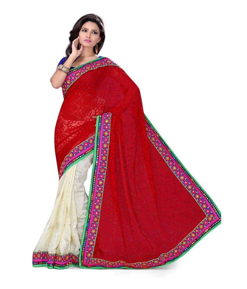 Red Goenka Synthetics Red Phulkari Work Brasso Designer Saree With Heavy Blouse Piece