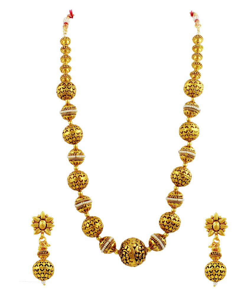 Orniza Royal traditional Indian Mala Set with Carved Golden Balls