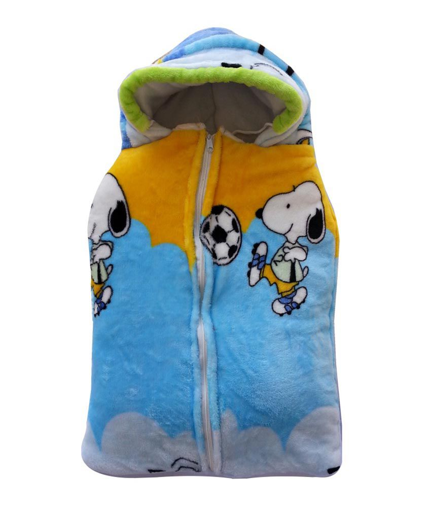 Cute Baby Puppy Football Hooded Mink Sleeping Bag