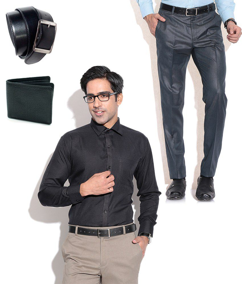 Fizzaro Combo of Blue Formal Trouser, Black Shirt, Belt & Wallet