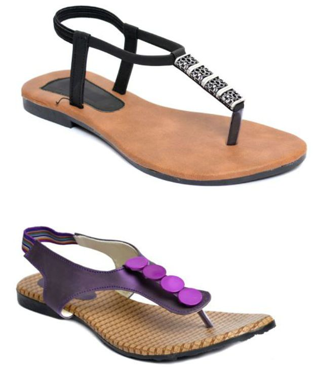 Indirang Black And Purple Flat Sandals Combo