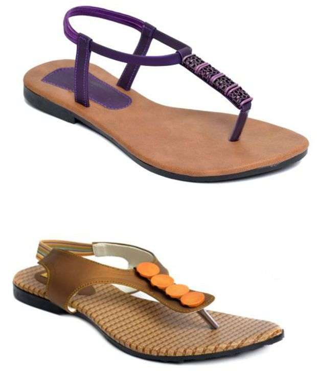 Indirang Purple And Brown Flat Sandals Combo