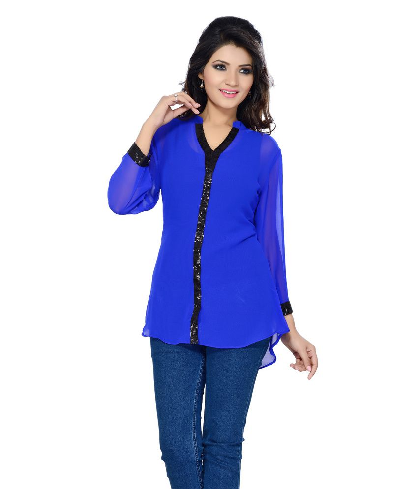 0803d00862ad2 Ishin Blue Poly Georgette Tops Price in India