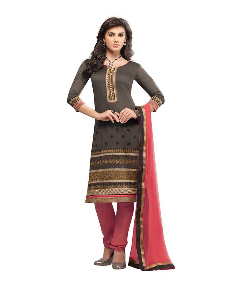 Kvsfab Black Embroidered Chanderi Dress Material