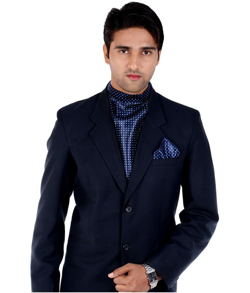 Maxell Stylish Cravat With Matching Pocket Square In Navy Blue With Sky And Black Combo