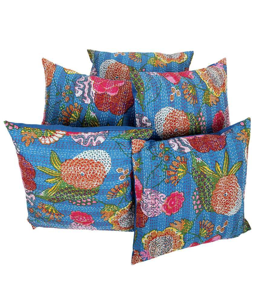 Rajrang  Fruit Print With Kantha Cushion Covers - (18 X 18 Inches) (Set of 5 Pcs)