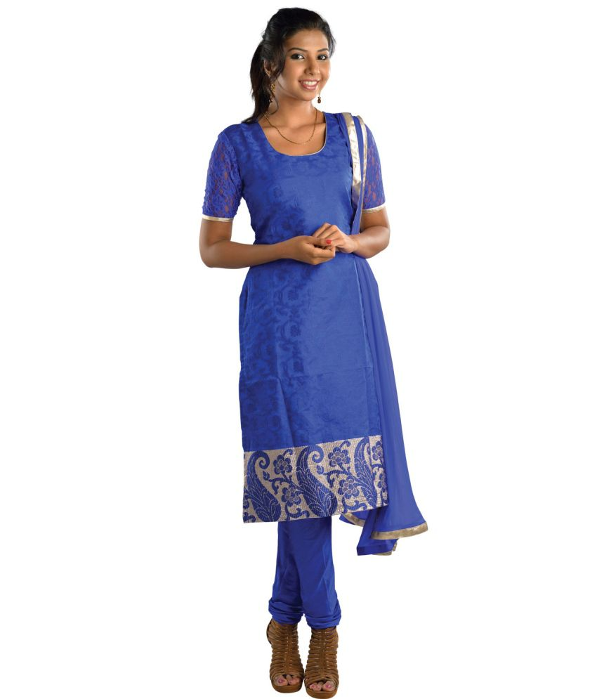 Saffron Straight Fit Blue Salwar Suit