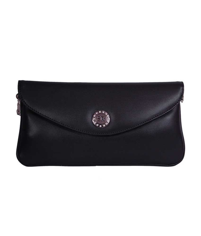Womaniya Black P.u. Magnit Button Clutch