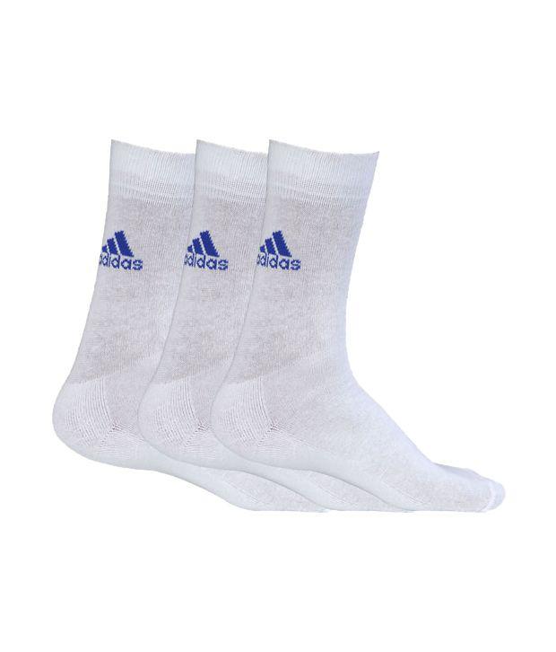 Adidas White Half Cushioned Crew Socks For Men (3 Pair Pack)
