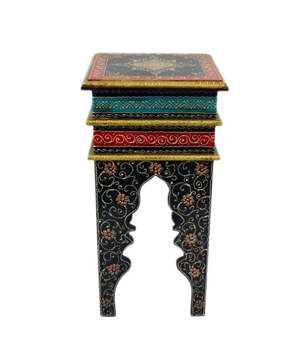 Artlivo Moroccan Stool Painted - Black