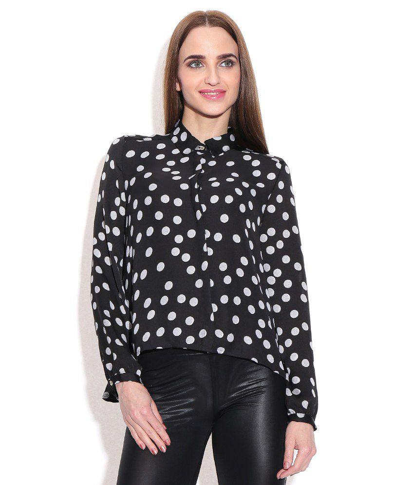 Chemistry Black Polyester Regular Collar Shirt