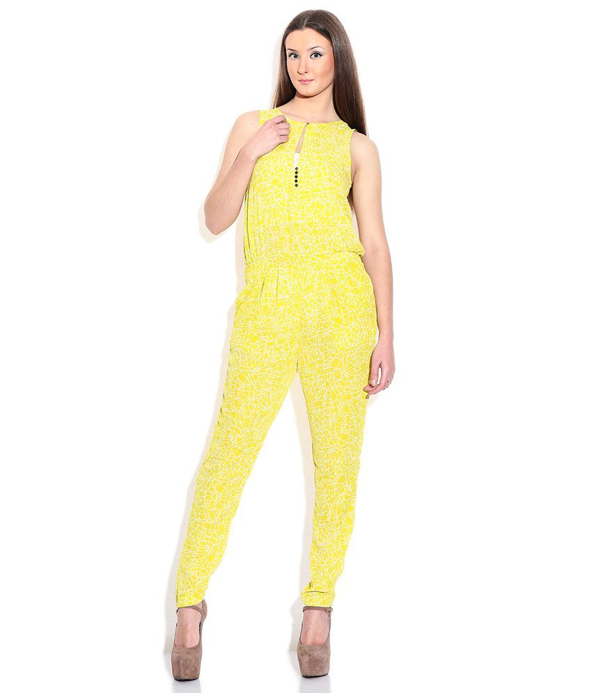 a21d61efff Chemistry Yellow Polyester Jumpsuits Chemistry Yellow Polyester Jumpsuits  ...