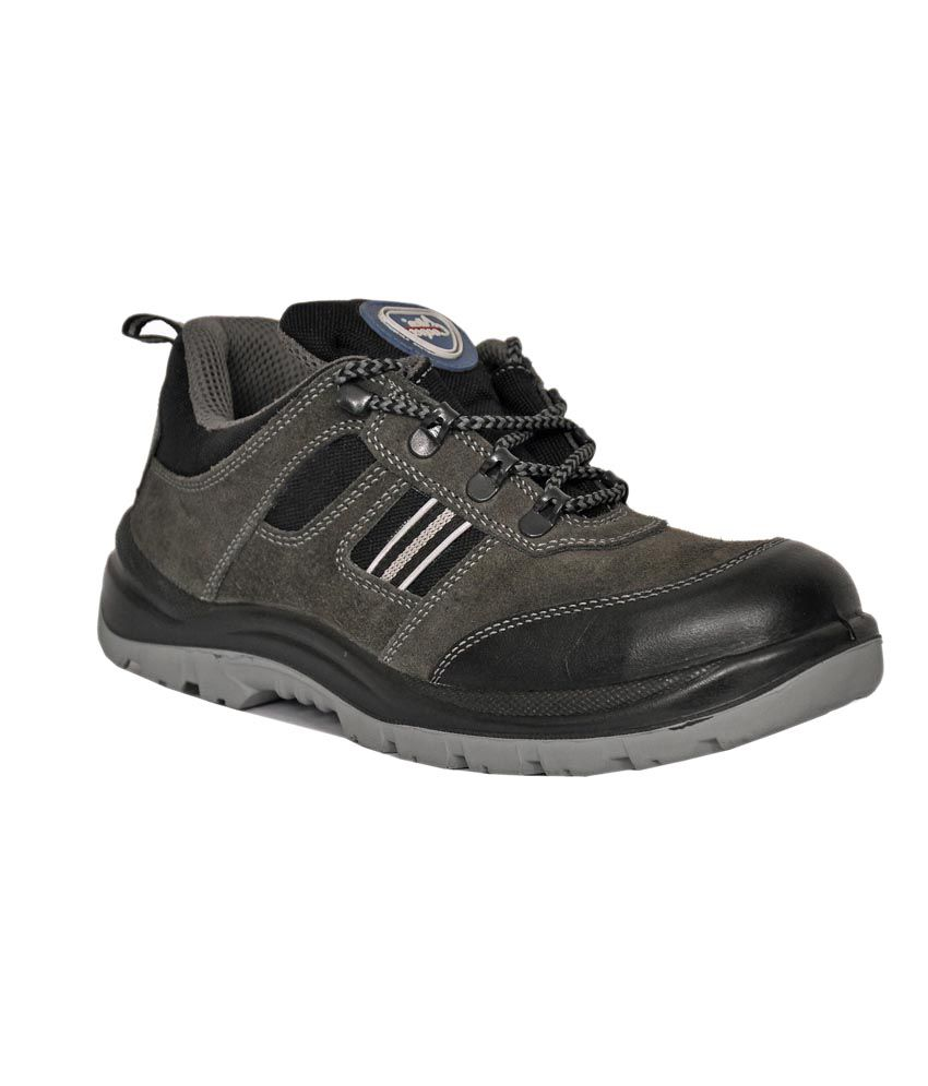 ab521b9a1cc Allen Cooper Gray Safety Shoes With Steel Toe Cap Isi And Dgms Approved