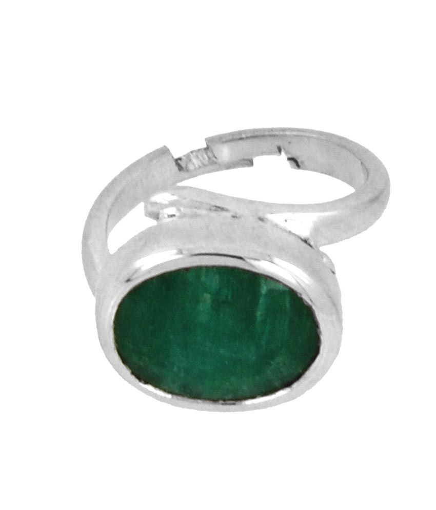 Avaatar 5.25 Carats Panna ( Emerald) Women Style Ring In Silver