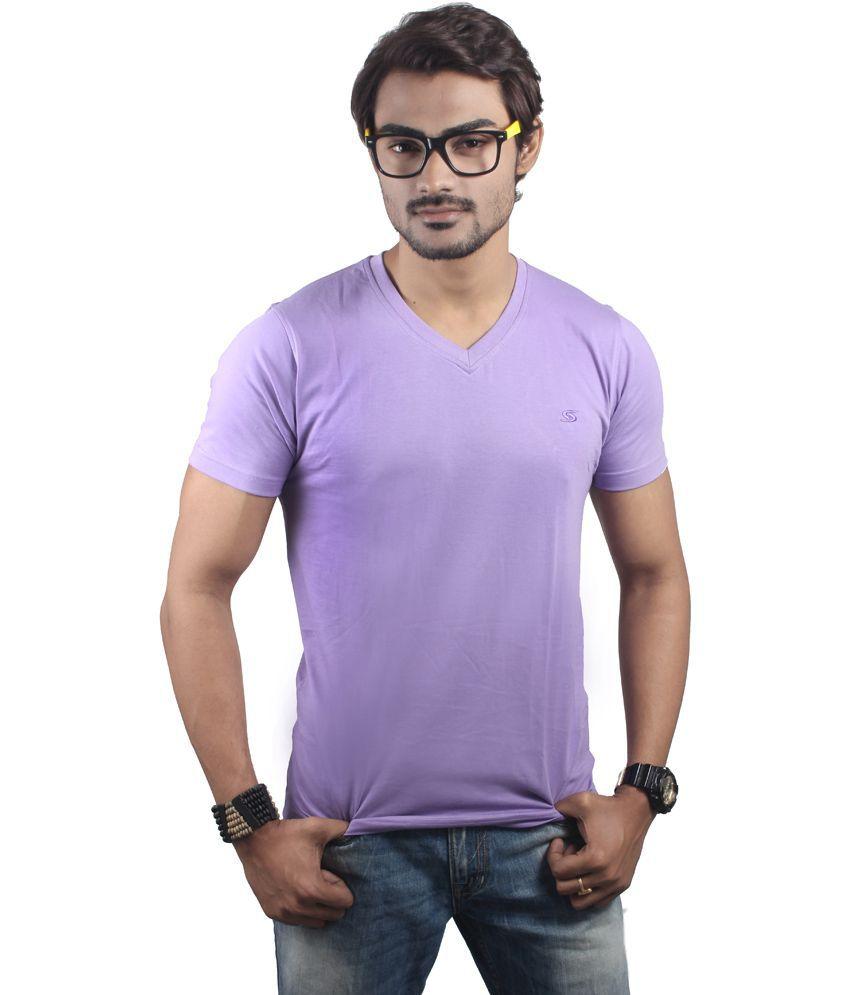 Spur Purple Cotton Basics V-neck T Shirt