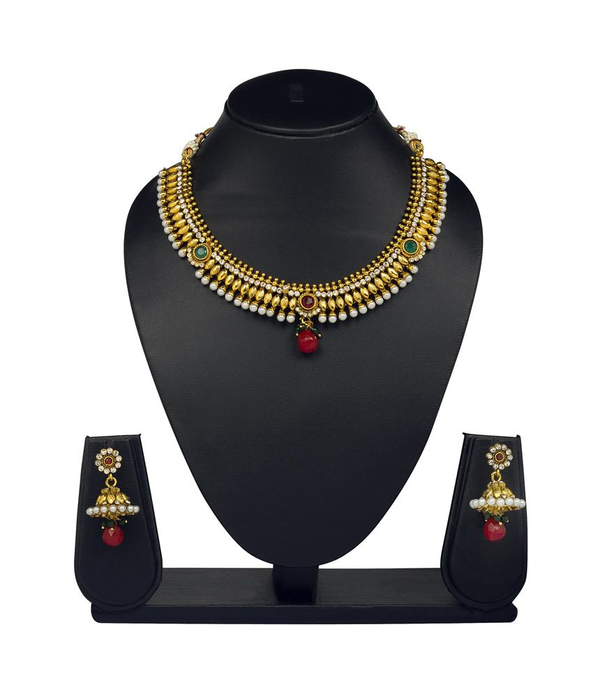 Vk Jewels Classic Gold Plated Necklace With Earrings