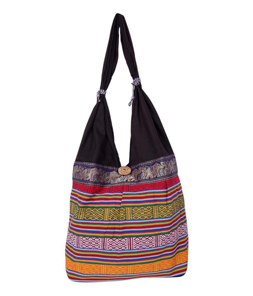 Womaniya Black Canvas Cloth Handicraft Jhola Bag