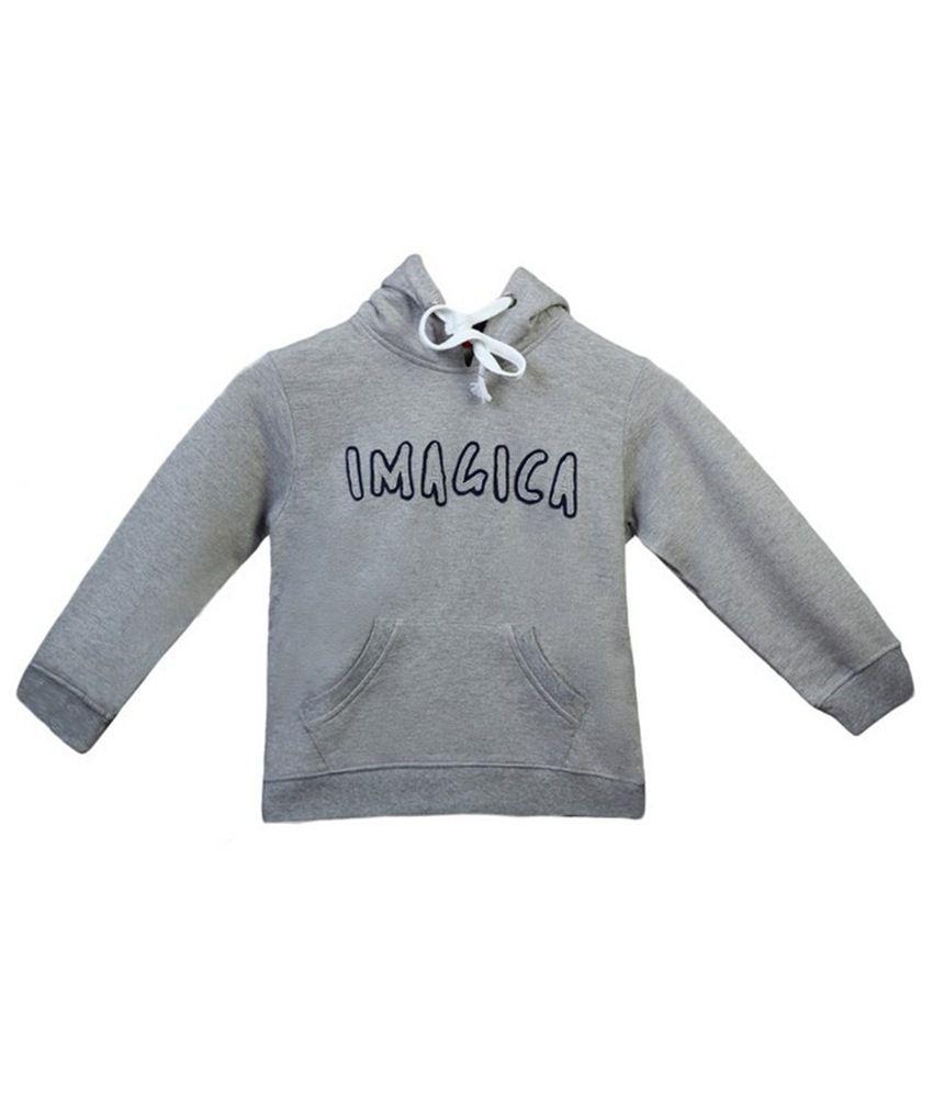 Imagica Snug Gray Hooded Sweatshirt For Girls