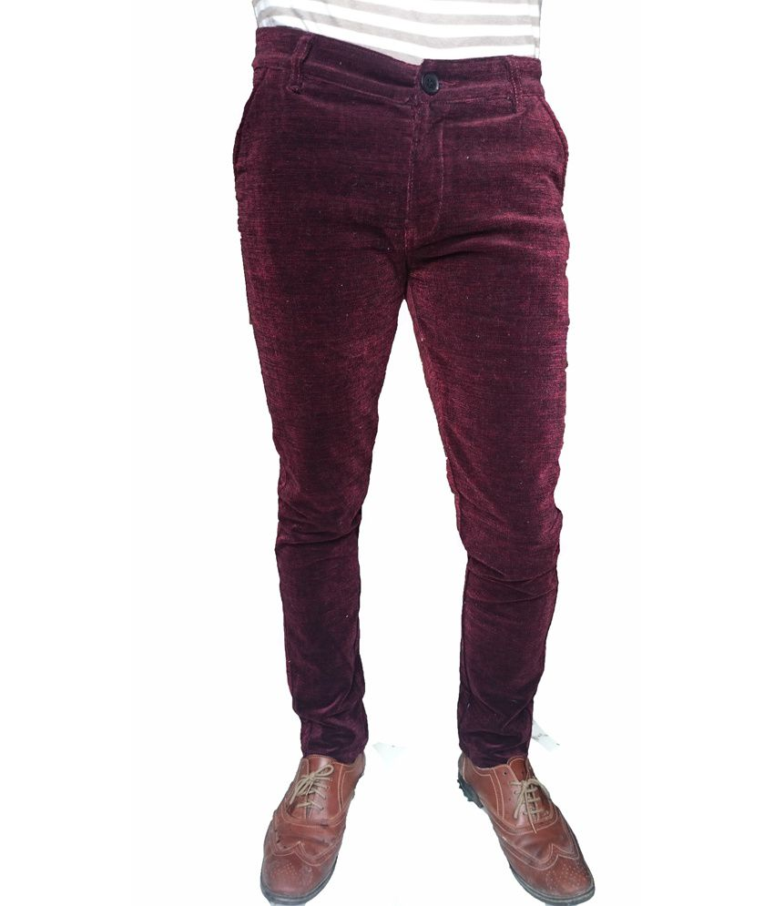 Oiin Maroon Cotton Blend Slim Fit Jeans